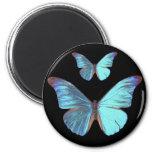 Mariposa azul iridiscente bonita imán de frigorífico