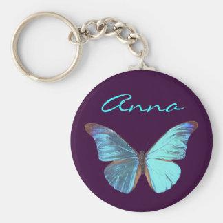 Mariposa azul iridiscente bonita llaveros personalizados