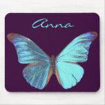 Mariposa azul iridiscente bonita alfombrillas de ratón