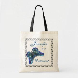 Mariposa azul - la bolsa de asas del boda de la da