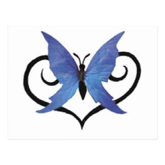 mariposa azul linda del amor postal