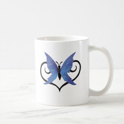 mariposa azul linda del amor taza clásica