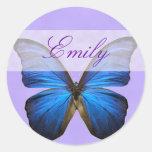 Mariposa azul magnífica de Morpho Etiqueta