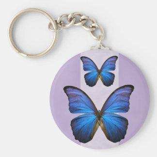 Mariposa azul magnífica de Morpho Llaveros Personalizados