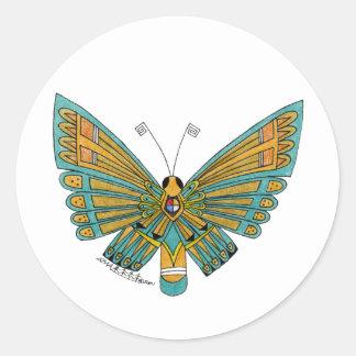 Mariposa azul etiqueta redonda