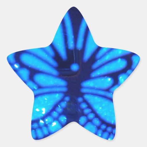 Mariposa azul calcomanías forma de estrellaes personalizadas
