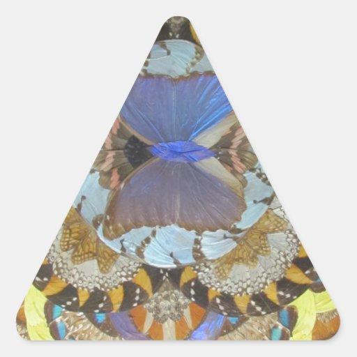 Mariposa azul pegatina de triangulo personalizadas