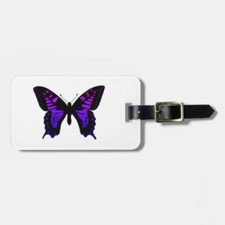 Mariposa azul púrpura del ala de Ombre Etiquetas Para Maletas