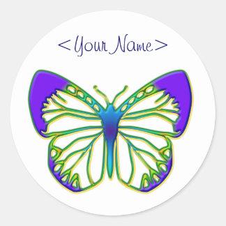 Mariposa azul que brilla intensamente etiqueta redonda