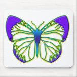 Mariposa azul que brilla intensamente alfombrilla de ratón