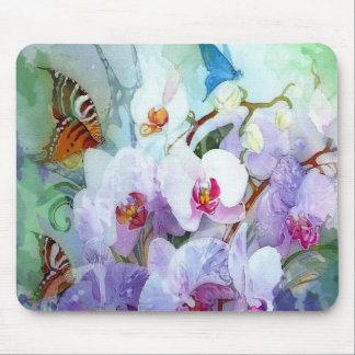 Mariposa azul rosada blanca del tigre de la tapete de raton