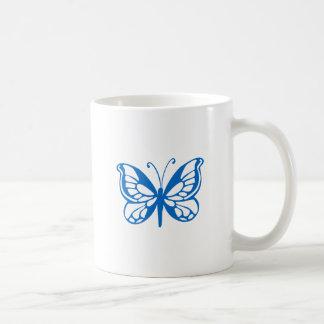 Mariposa azul taza de café