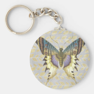 Mariposa azul y amarilla del estilo del vintage llavero redondo tipo pin
