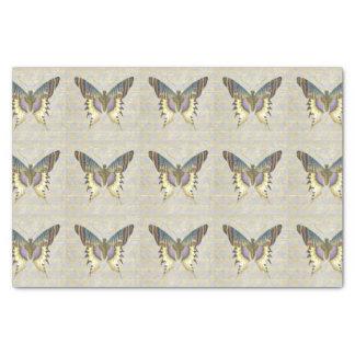 Mariposa azul y amarilla del estilo del vintage papel de seda