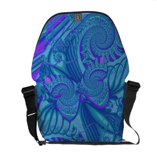 Mariposa azul y espirales, la bolsa de mensajero a bolsa de mensajería