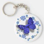 Mariposa azul y llave bonita de las flores/cadena  llavero personalizado