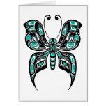 Mariposa azul y negra del alcohol del Haida en bla Tarjeta