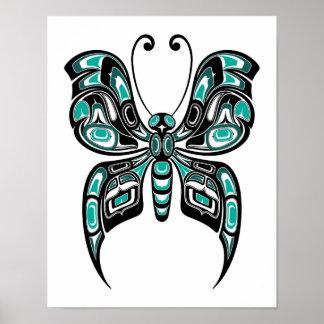 Mariposa azul y negra del alcohol del Haida en Póster