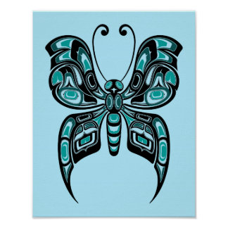 Mariposa azul y negra del alcohol del Haida Póster