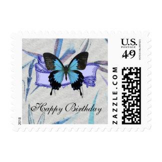 Mariposa azul y negra en bambú azul sello