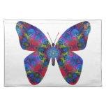 Mariposa azul y roja de la fantasía de la mandala mantel individual