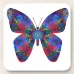 Mariposa azul y roja de la fantasía de la mandala posavasos
