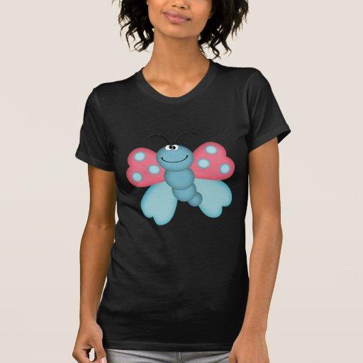 mariposa azul y rosada linda camisetas