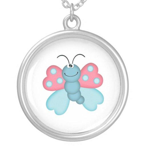 mariposa azul y rosada linda colgante redondo