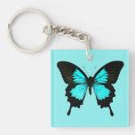 Mariposa - azules turquesas y negro llavero cuadrado acrílico a doble cara