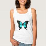 Mariposa - azules turquesas y negro playera con tirantes
