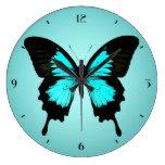 Mariposa - azules turquesas y negro reloj redondo grande
