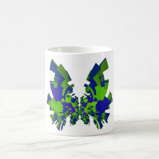 mariposa azulverde taza de café