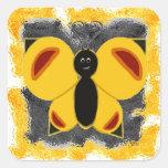 Mariposa banal pegatina cuadradas personalizada