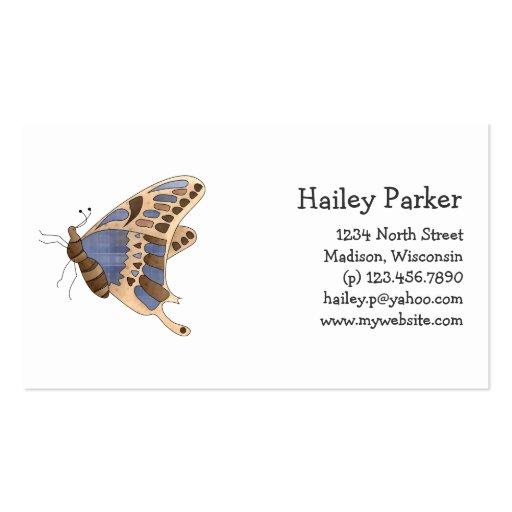 Mariposa beige y azul tarjetas de visita