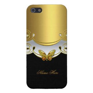 mariposa blanca 2 del negro del oro del iPhone iPhone 5 Fundas