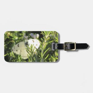 Mariposa blanca a cuadros etiquetas para maletas