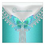 Mariposa blanca azul de la fiesta de cumpleaños de comunicado personal