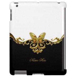 Mariposa blanca negra del oro funda para iPad