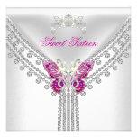 Mariposa blanca rosada dieciséis del dulce 16 invitaciones personales