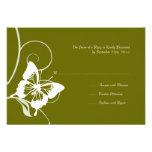 Mariposa blanca y verde que casa RSVP Invitación Personalizada
