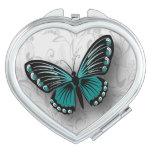 Mariposa blanco y negro del trullo caprichoso espejo de maquillaje