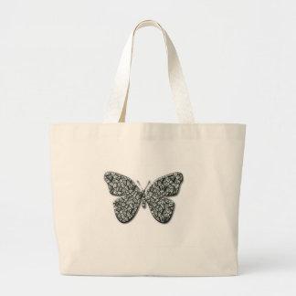 Mariposa blanco y negro elegante bolsas de mano
