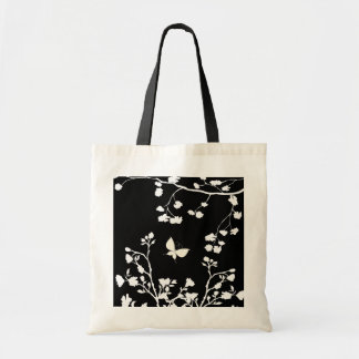 Mariposa blanco y negro elegante bolsa