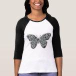 Mariposa blanco y negro elegante camiseta