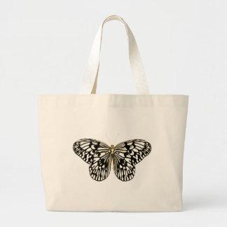 Mariposa blanco y negro, fondo rosado coralino bolsa tela grande