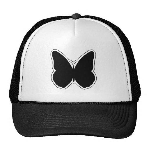Mariposa blanco y negro gorros bordados