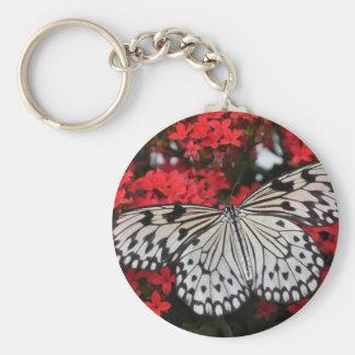 Mariposa blanco y negro hermosa llavero redondo tipo pin