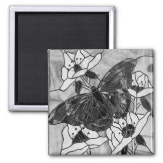 Mariposa blanco y negro imán cuadrado