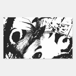 Mariposa blanco y negro pegatina rectangular