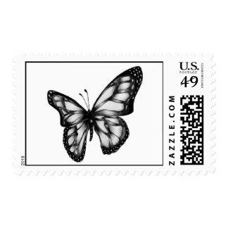 Mariposa blanco y negro sello